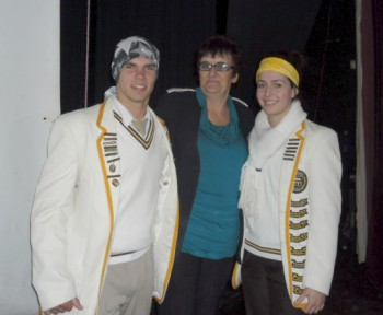 Silvia Craucamp with the head boy and head girl of Elspark Technical High School