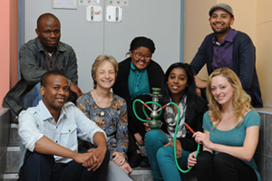 Burn baby, burn: The hubbly bubbly study was conducted by fourth-year MBChB students (from left, front) Tshepo Masiea, Mandy Botsis (moderator), Tahira Banoobhai, and Nicolina van der Merwe. (Back) Abram Gwala (moderator), Zizipho Gqweta, and Manshil Misra.