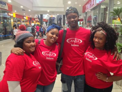 Y.E.S Interns at CANSA: Samkelo, Alicia, Mxolisi & Duduzile